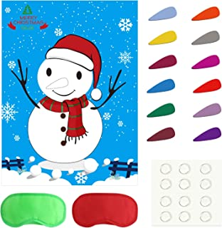 TUPARKA Pin The Nose on The Snowman Holiday Reusable Game Christmas Party Games with 24 Noses and Blindfold for for Kids and Adults, Holiday Party Favor Supplies