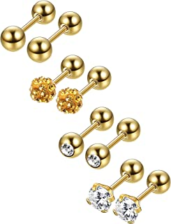 Jstyle 4 Pairs Stainless Steel Ball Stud Earrings for Men Women CZ Cartilage Helix Ear Piercing