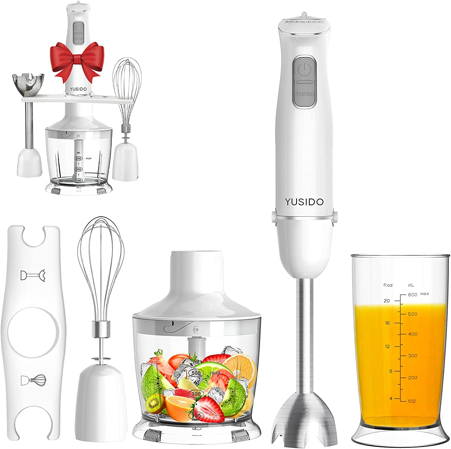 YUSIDO Upgraded 800Watt Immersion Blender, 4-In-1 Multi-Function Hand Blender, 8-Speed Stick Blender with Titanium Blades for Smoothie/Whisk/Milk Frother/Crush Ice/Soup/Juicer/Puree