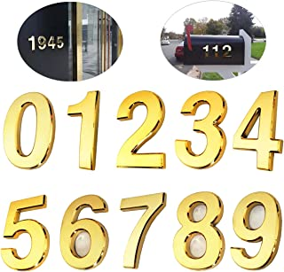10 Pack Door Numbers 0-9, 2-3/4in Address Number Stickers for Mailbox/Apartment/Outdoor, Gold Shining, by Hopewan (2.75