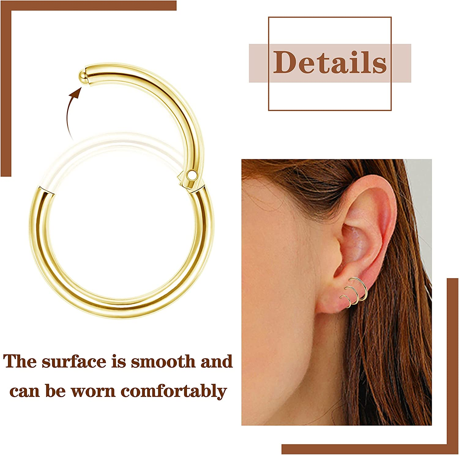 Ubjuliwa 12pcs 16G Rook Piercing Jewelry Eyebrow Rings Stainless Steel Belly Lip Ring Cartilage Hoop Rook Daith Earrings Tragus CZ Body Piercing Curved Barbell