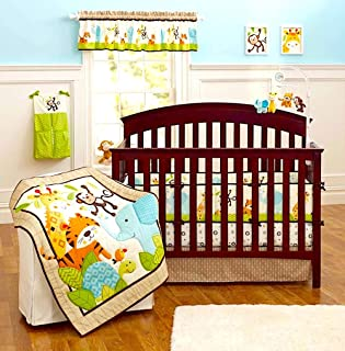 BabyCrib Unique Cute Adorable Elephant, Tiger, Monkey, Green and Blue, 10 Piece Bedding Set, Including Crib Bumper, Diaper Stacker, and Bonus Baby Monthly Milestone Blanket for Newborn Baby Boy/Girl.