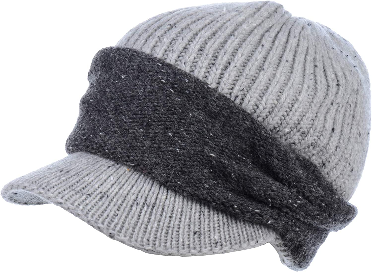 Be Your Own Style BYOS Womens Winter Rib Cozy Fleece Lined Knit Hat Newsboy Cabbie Beanie W Visor