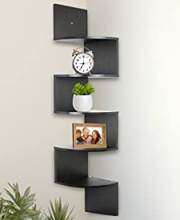 Greenco 5 Tier Wall Mount Corner Shelves Gray Finish