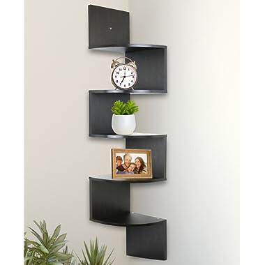 Greenco 5 Tier Wall Mount Corner Shelves Espresso Finish , 7.75  L x 7.75  W x 48.5  H.