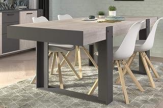 Générique Table à manger pieds arches, coloris chêne grisé