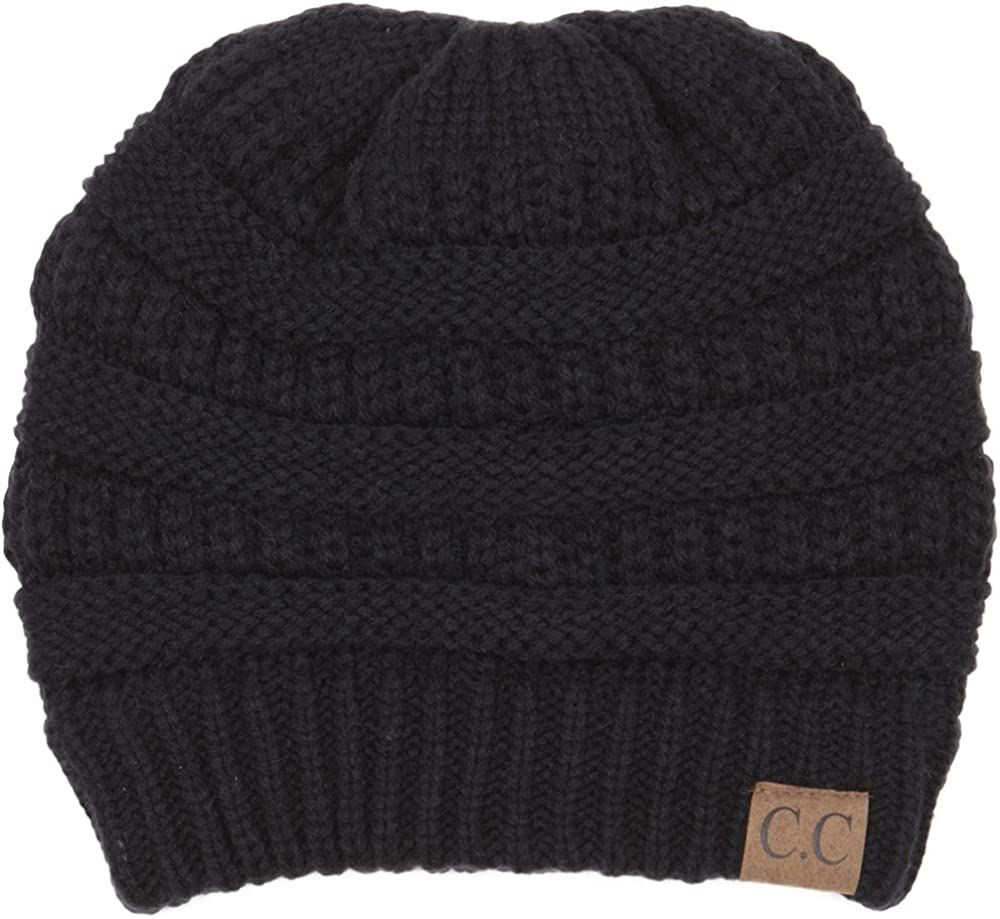 C.C Trendy Warm Chunky Soft Stretch Cable Knit Beanie Slouchy Skully Winter Hat