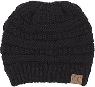 C.C Trendy Warm Chunky Soft Stretch Cable Knit Beanie Slouchy Skully Winter Hat Black