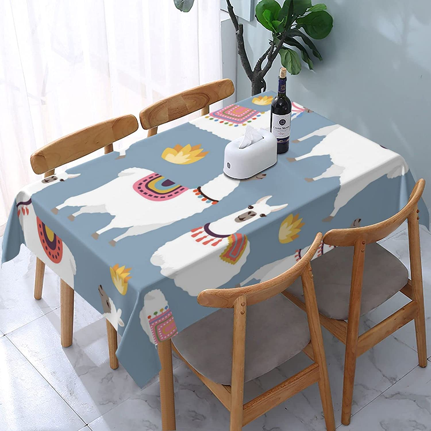 Colored Max 79% OFF Llama Ranking TOP4 Rectangle Tablecloth Washable with Cover Dus Table