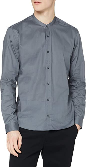 Marca Amazon - find. Grandad Cotton - Camisa Hombre
