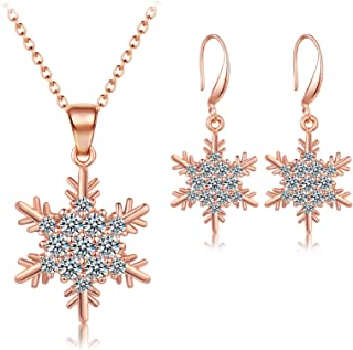 Christmas Frozen Snowflakes Drop Dangle Earrings Crystal Collar Necklace Set Sparkling Jewelry Set Hook Xmas Holiday for W...