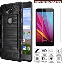Huawei Sensa 4G LTE [Straight Talk] H710VL H715BL / Honor 5X Armor Case Heavy Duty Brushed Metal Finish Slim Fit Shock Impact Dual Layer Protection + Tempered Glass LCD Screen Protector (Black)