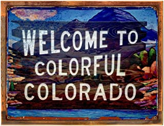 OMSC Wood-Framed Colorful Colorado Metal Sign, Forest, Mountains, Country Living, Family Room, Bar, Den on Reclaimed, Rustic Wood