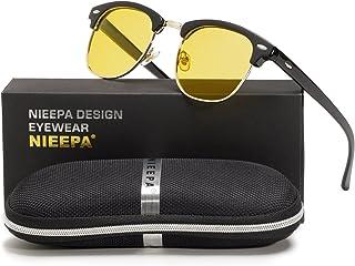 667ddd391c9 NIEEPA Semi Rimless Polarized Sunglasses Classic Metal Retro Rivets Sun  Glasses