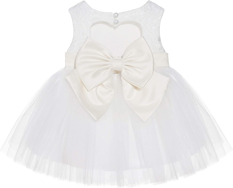 Ivory Lace Heart Cutout Flower Girl Dress Holiday Seasonal Social Events BB1