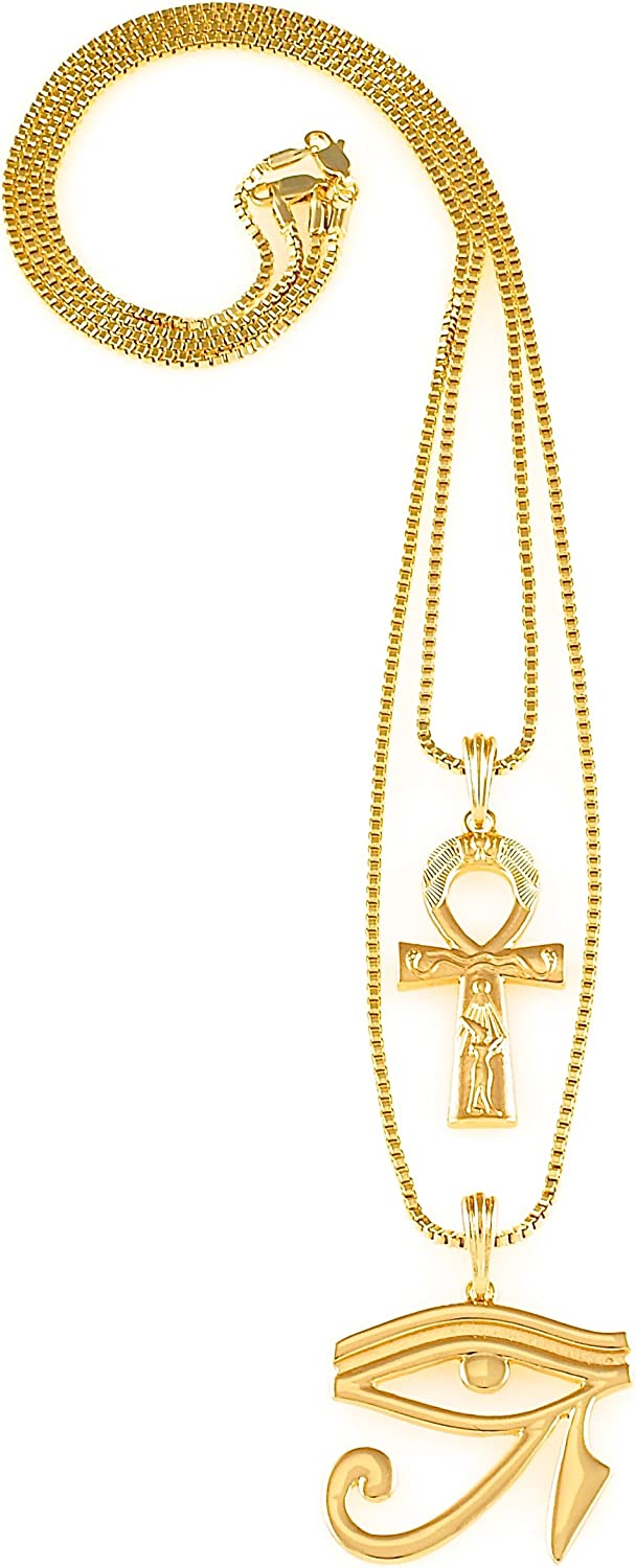 GWOOD Ankh and Eye Of Ra Two Pendant Set with 24 and 30 Inch Box Necklaces