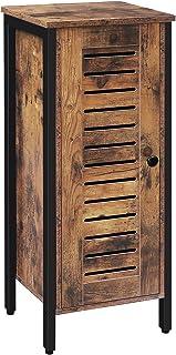 HOOBRO Armario Auxiliar Armario de almacenaje Aparador de pie con Puerta de Lamas y 2 Estantes para Dormitorios Salas ...