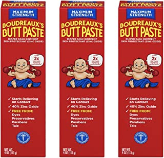 Boudreaux's Butt Paste Diaper Rash Ointment | Maximum Strength | 4 Ounce | Pack of 3