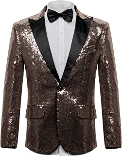 Men's Shiny Sequins Dress Suit Jacket Floral Party Dinner Jacket Wedding Blazer Prom Tuxedo