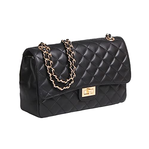 6fb6b36a06a762 Italian Leather Quilted Designer Inspired Handbag with Gold Trims (Jet  Black)