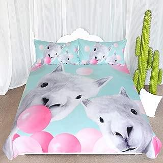ARIGHTEX Llama Bedding Cute Alpaca and Bubbles Funny Duvet Cover 3 Piece Mint Green Kids Girls Animal Cartoon Bed Set (Twin)
