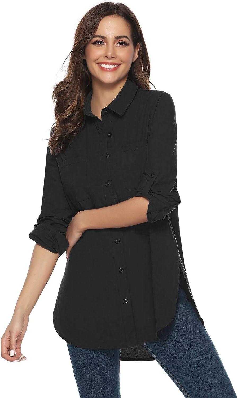 Abollria Womens Casual Long Sleeve Button Boyfriend Loose Shirt Tops Long Blouse