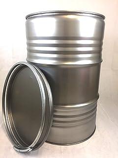 Srm - Design Metallfass 210 Liter Blechfass Fass Ölfass Tonne mit Spannring und Deckel Blank NEU