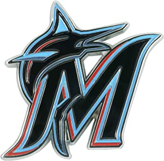 SLS FANMats Miami Marlins Premium Solid Metal Chrome Raised Auto Emblem Decal Baseball