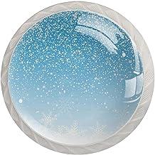 AITAI Sneeuwvlokken Blauwe Ronde Kabinet Knop 4 Pack Trekt Handgrepen
