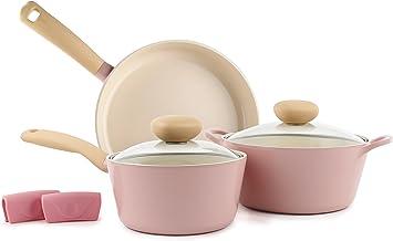 Neoflam 52430 Retro 5-Piece Ceramic Nonstick Cookware Set Pink