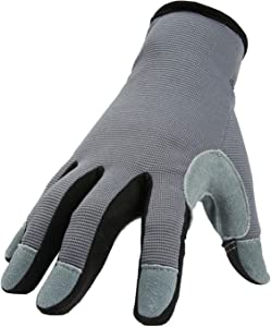 OZERO Work Gloves with Genuine Deerskin Leather Palm and Sensitive Touch Screen Fingertips for Working, Gardening, DIY, Mechanics for Women (Gray,Medium)