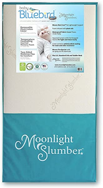 Moonlight Slumber Mattress Combo Baby Bluebird Dual Firmness Lightweight Waterproof Crib Mattress And Toddler Mattress With Cool Gel Memory Foam Easy Off Premium Cotton Cover