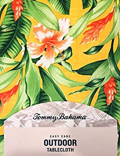 Tommy Bahama Easy Care Outdoor Tablecloth | Tropical Floral Design on Yellow | 60