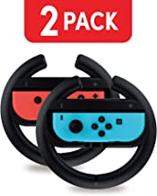 Nintendo Switch Steering Wheel Controller (2 Pack) by TalkWorks | Racing Games Accessories Joy Con Controller Grip for Mario Kart, Black