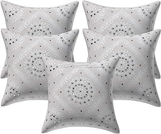 DK Homewares - Housses de Coussin en Coton Indien Boho 40x40 - Couvre oreillers de Coussin rehaussés de Reflets Blancs - 1...