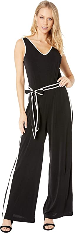 Sleeveless Color Blocked Jumpsuit with Belt