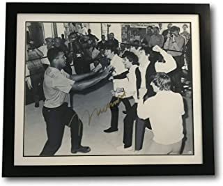 MUHAMMAD ALI W/THE BEATLES SIGNED 30X40 COA ONLINE AUTHENTICS FRAMED AUTOGRAPH