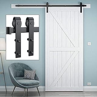 Genius Iron 6.6FT Single Barn Door Hardware, Classic Design Standard Track with Upgraded..