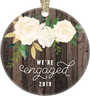 We're Engaged Christmas Ornament 2019 Gifts for the Bride to Be Couple Engagement 1st Xmas Tree Present Unique Home Decor Idea 3
