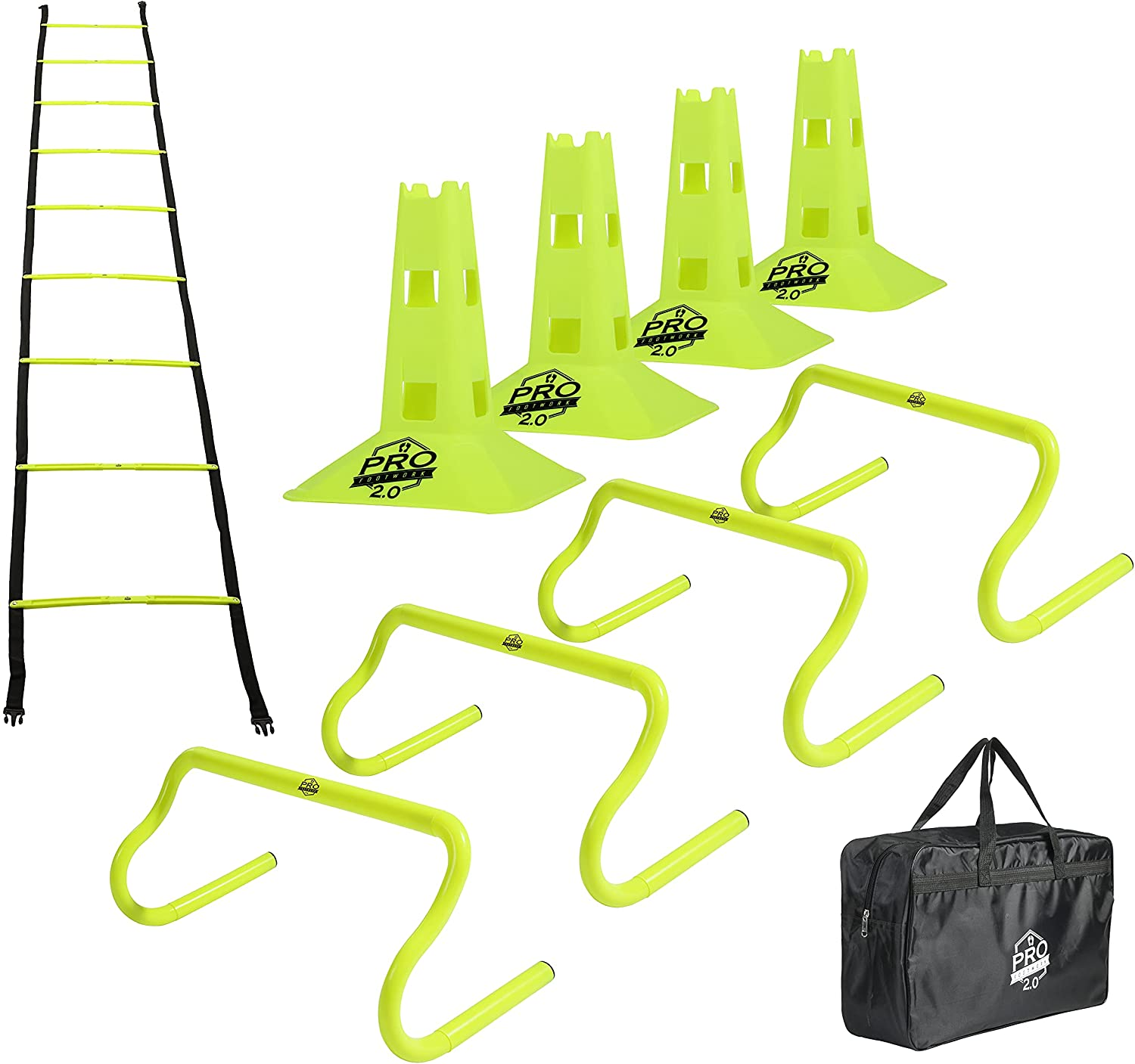 Pro Footwork Agility Ladder and Hurdle B with Outstanding Save money Set Training Carry