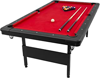 GoSports 6ft or 7ft Billiards Table - Portable Pool Table - Includes Full Set of Balls, 2 Cue Sticks, Chalk, and Felt Brus...