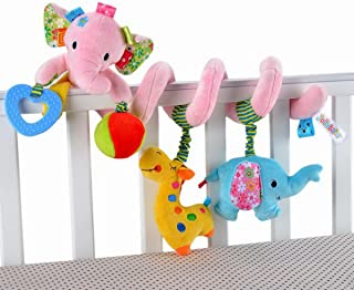 Elephant Design Infant Baby Activity Spiral Bed & Stroller Toy-Bed Rattles Hanging Bell-Crib Toy,Pink