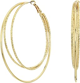 GUESS - Triple Wire Clutchless Hoop Earrings