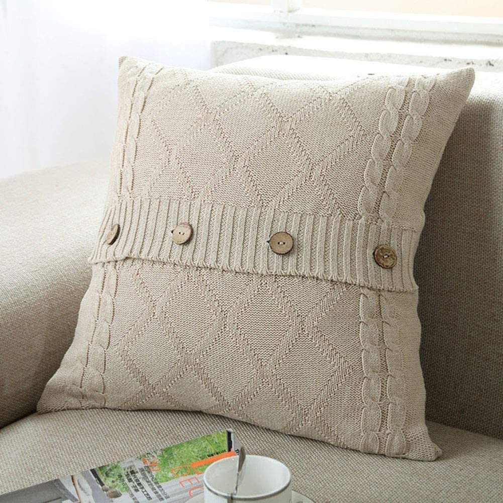 DONEUS Cotton Cable Knitted Pillow Case Cushion Cover Decorative Knitting Patterns Square Warm Throw Pillow Covers(White, 18x18)