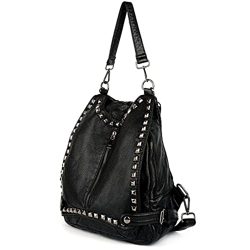 a015d8f55e5662 UTO Women Backpack Rivet Studded Convertible Ladies Shoulder Bag Anti Theft  PU Leather Black