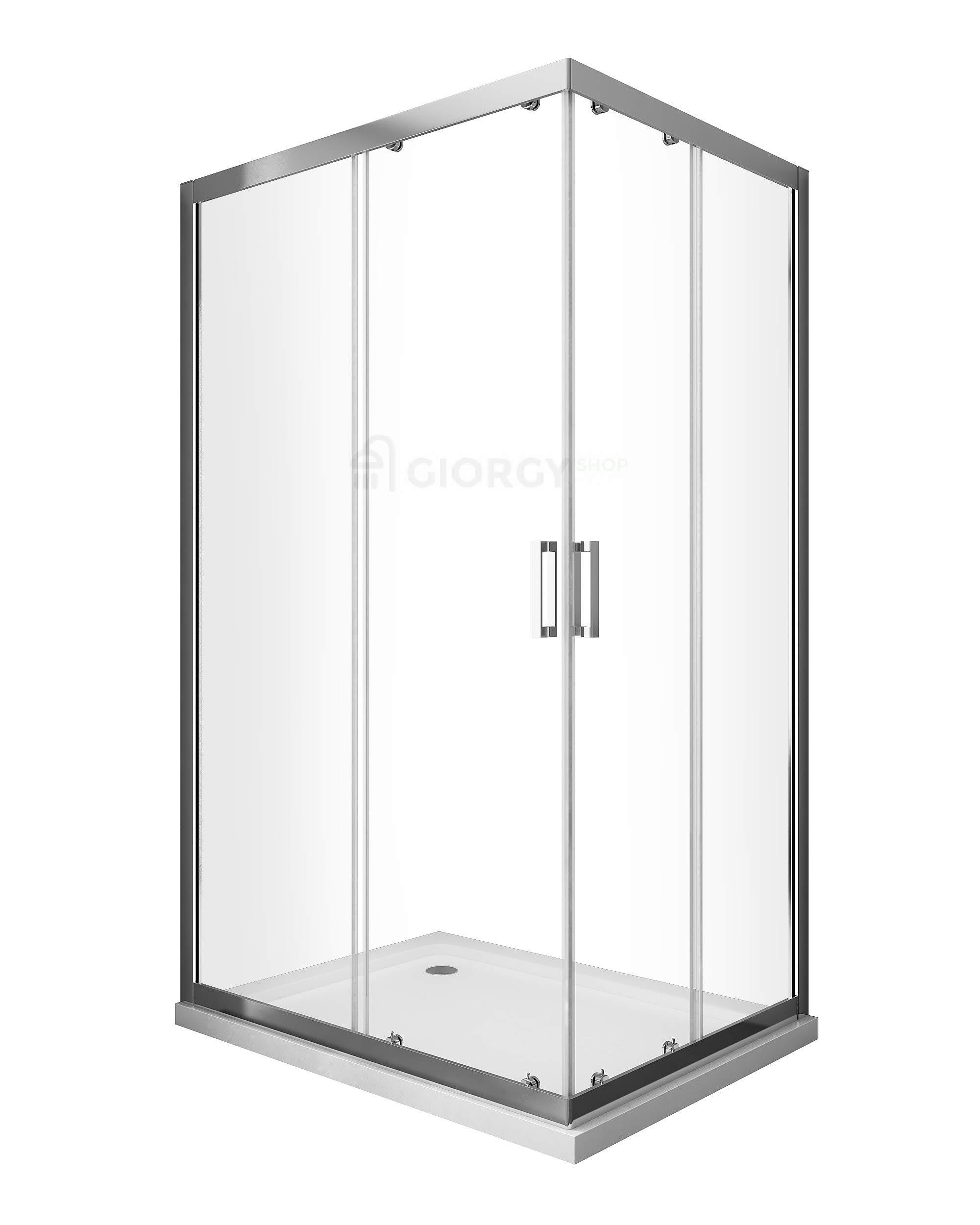 Cabina de ducha rectangular, 70, 75, 80, 90, 100, 110, 120, 130, 140 cm, cristal fácil de limpiar, transparente de 6 mm, antical, apertura, angular, deslizante: Amazon.es: Bricolaje y herramientas
