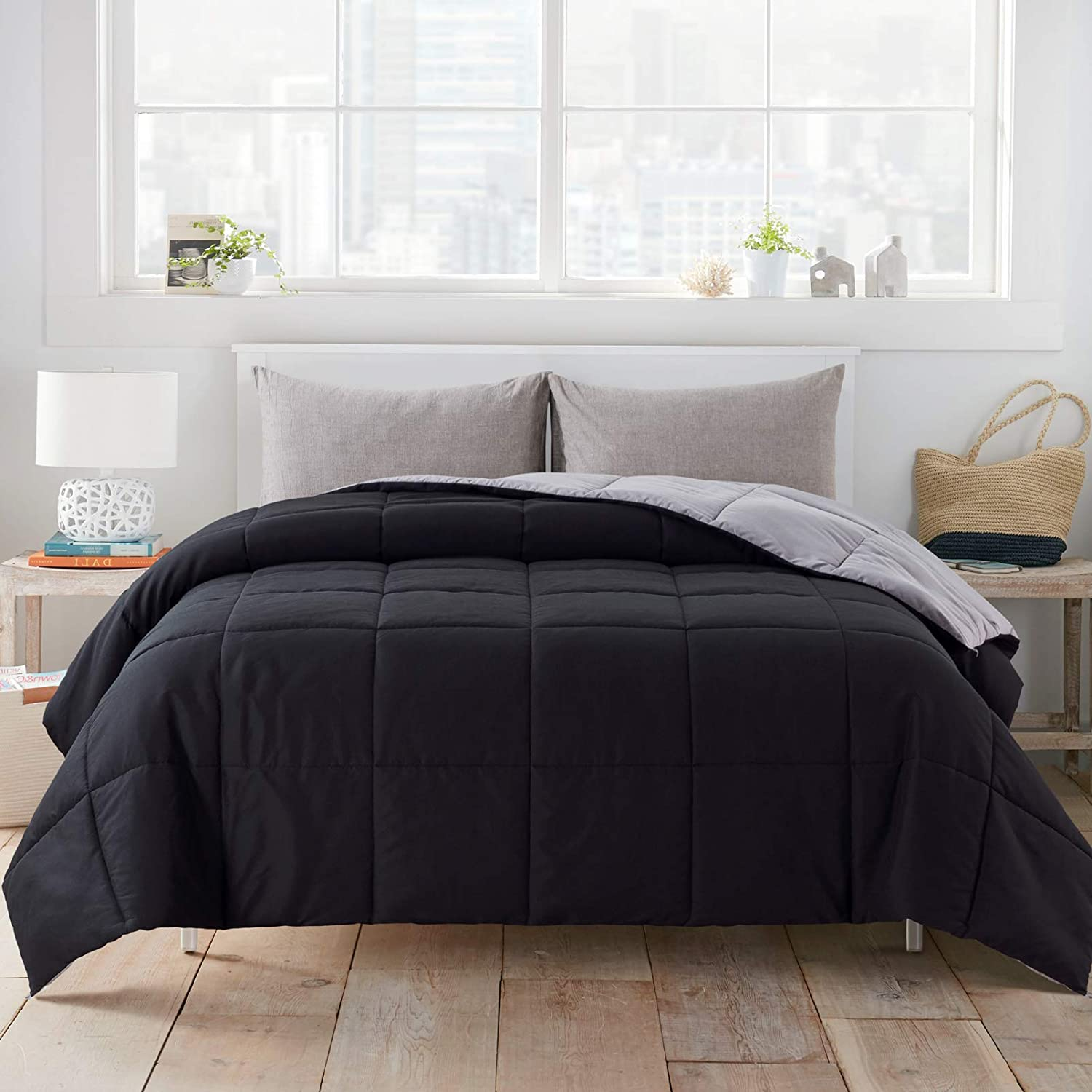 WhatsBedding All Season Full Black Outlet ☆ Free Shipping Grey Alternative Down Comfort New product