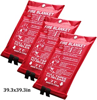 3 Pack Survival Safety Cover Fire Emergency Blanket Flame Retardant Blanket Suppression Blanket for Kitchen Camping Firepl...