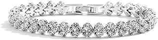 Mariell Platinum Plated Cubic Zirconia Crystal Tennis Bracelet for Bridal, Wedding, Prom & Everyday Wear