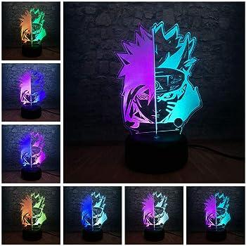 Uzumaki Naruto Tischlampe 3D LED Nachtlicht Leselampe 7 Farbe Nachttischlampe DE